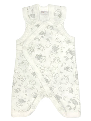Early Baby Dungarees - White with Sheep Print (3-5lbs)