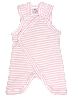 Early Baby Dungarees - Pink with Stripes (3-5lbs)