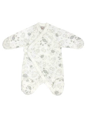 Early Baby Footed Sleepsuit - White with Sheep Print (3-5lbs)