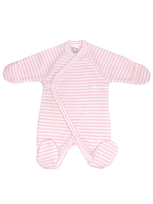 Early Baby Footed Sleepsuit - Pink with Stripes (3-5lbs) - Sleepsuit / Babygrow - Lorita