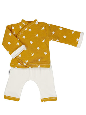 Preemie Shirt & Trouser Set, Mustard Yellow Star, 1.5-3lb & 3-5lb