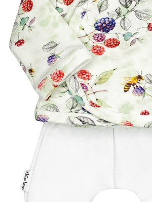 Wrap Shirt & Trouser Set, Fruit & Bees Print Set (White Trousers), 1.5-3lb & 3-5lb
