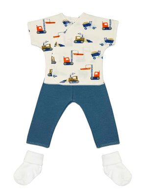 Premature baby set: Digger top, Blue trousers & Socks