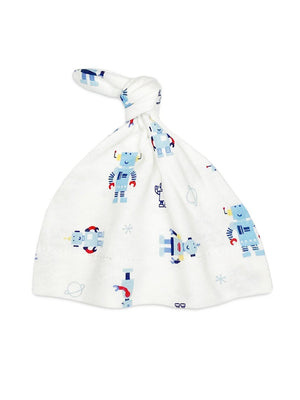 Robot Print Knotted Hat (Premature Baby Clothing, 1.5-3lb)