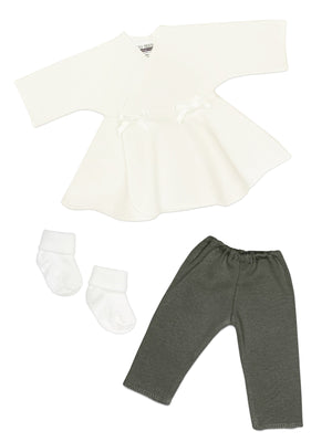 Premature baby set: Ivory dress, Grey trousers & Socks
