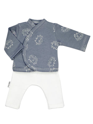 Preemie Shirt & Trouser Set, Blue Grey Hedgehog, 1.5-3lb & 3-5lb