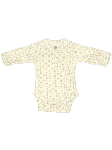 100% Cotton Cream Star Print Long Sleeve Vest (1.5-3lb, 3-5lbs & 4-7lbs)