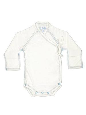 Organic Wrap-over Long Sleeve Vest - White with Blue Stitching