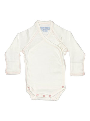 Organic Wrap-over Long Sleeve Vest - White, Pink Stitching, 5-8lb