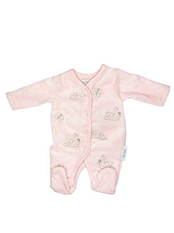 Embroidered Swan & Duck Pink Velour Sleepsuit 3-5lbs & 5-8lbs