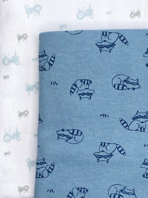 2 Pack, Organic Cotton Blankets, Raccoons / Tractors, 70 x 70 cm