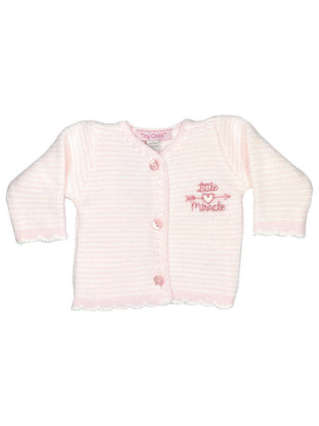 "Pink ""Little Miracle"" Scallop Detail Cardigan 3-5lbs & 5-8lbs"