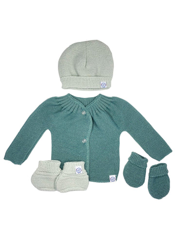 Knitted Cardigan, Hat, Mittens & Booties Set - Teal Green (6-9lb)