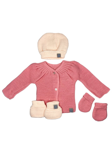 Knitted Cardigan, Hat, Mittens & Booties Set - Pink (6-9lb)