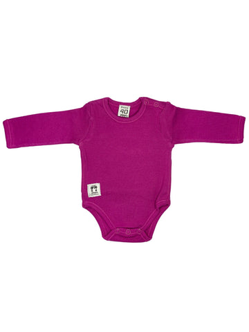 Organic Cotton Magenta Pink Rib Shoulder Button Vest (3-6lb)