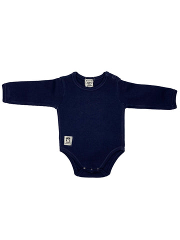 Organic Cotton Navy Blue Rib Shoulder Button Vest (3-6lb)