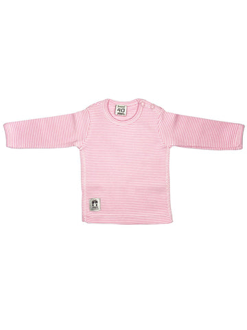 Organic Cotton Pink and White Rib Top (3-6lb)