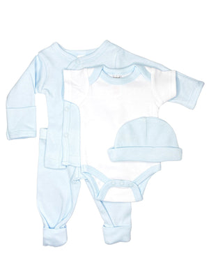 Classic Blue & White 4 piece set - Vest, Top, Trousers & Hat (4-7lbs)