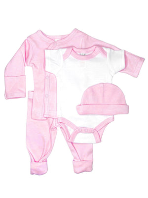 Classic Pink & White 4 piece set - Vest, Top, Trousers & Hat (4-7lbs)