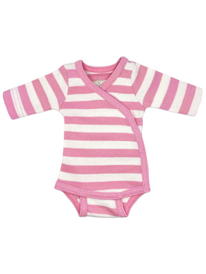 Organic Cotton Pink Thick Stripe Long Sleeve Vest (1.5-3lb & 3-5lb)