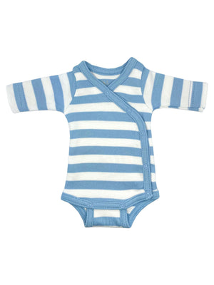 Organic Cotton Blue Thick Stripe Long Sleeve Vest (1.5-3lb & 3-5lb)