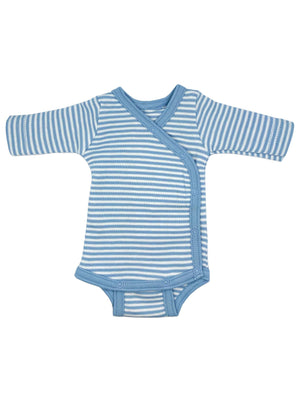 Organic Cotton Blue Thin Stripe Long Sleeve Vest (1.5-3lb & 3-5lb)
