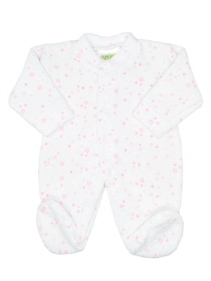 White Pink Star Velour Footed Sleepsuit (3-5lbs & 5-8lbs)