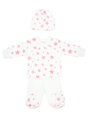 Pink star wrap, trousers & hat set (3lb-5lb)