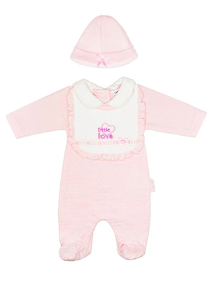 'Little Love' Polkadot Sleepsuit, Hat & Bib Set (3-5lb & 5-8lbs)