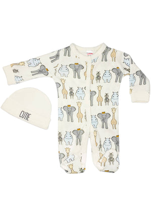 Animal Print Sleepsuit & Hat Set - Cream (5-8lb)