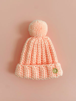 Pink Artisan Knitted Hat with Pompom (3-5lb & 5-8lb) - Hat - Off the Hook