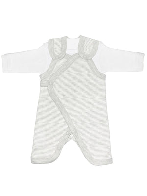 Early Baby Top & Dungarees Set - Grey Stripe (3-5lbs)