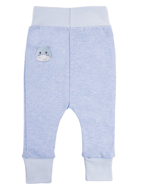 Early Baby Jersey Trousers, Cute Hippo Design - Blue (3-5lb)