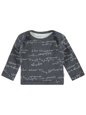 Grey Love Messages Top - Organic Cotton (Tiny Baby, 4-7lb)