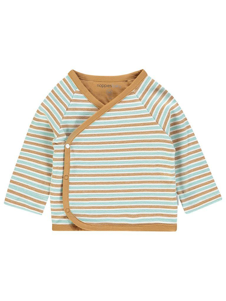Green and Brown Stripe Long Sleeve Wrap-over Top (Newborn)