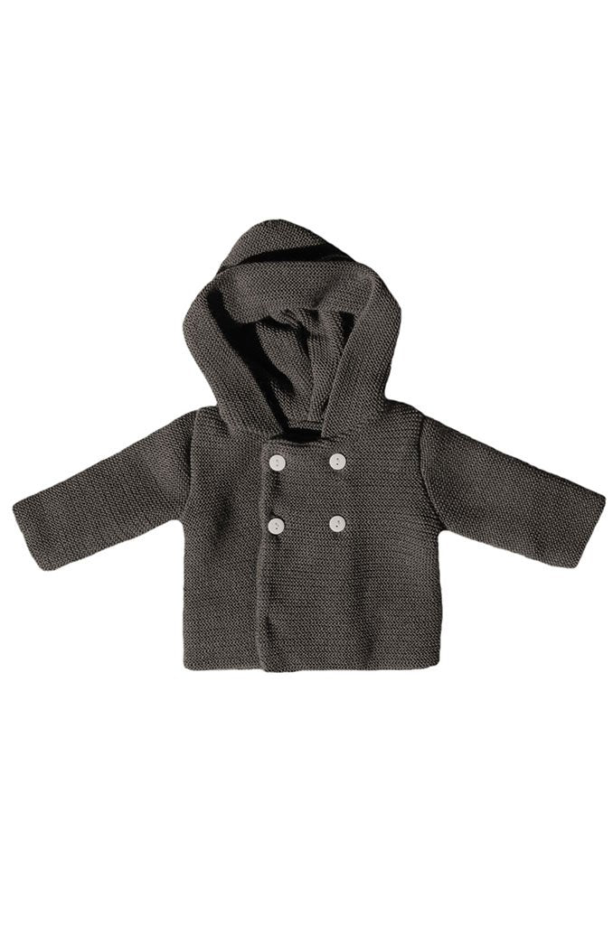Charcoal Grey Knitted Baby Jacket (Newborn & 0-3 Months)