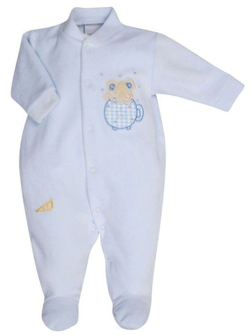 Blue Velour Mouse in Teacup Sleepsuit, 3-5lbs & 5-8lb