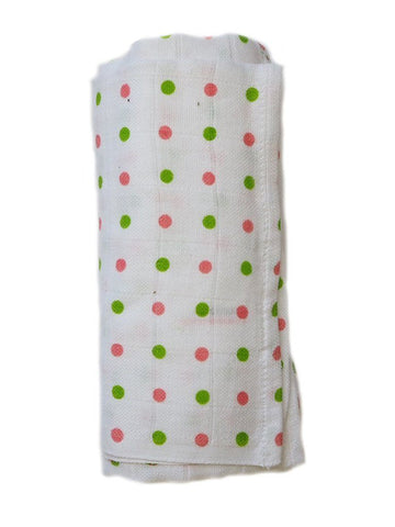 Pink and Green Spotty Bamboo Organic Muslin - 70cm x 70cm