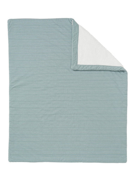 Jersey Stripe & Fleece Cot Blanket - Blue Grey - Organic Cotton