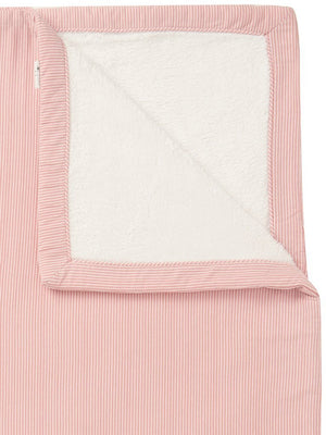 Jersey Stripe & Fleece Cot Blanket - Salmon Pink - Organic Cotton