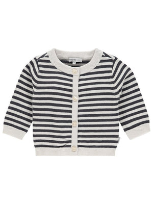 Long Sleeve Knit Cardigan - Black and Cream Stripe (1-2 months)