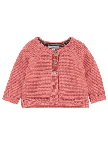 Organic Cotton Knitted Cardigan - Salmon Pink (2-4 months)