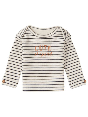 Luxury Oatmeal Breton Stripe Top - Organic Cotton (Tiny Baby, 4-7lb)