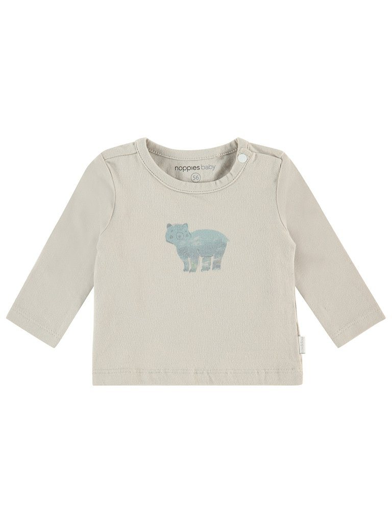 Light Taupe Little Bear Print Top - Tiny Baby Size (4-7lb)