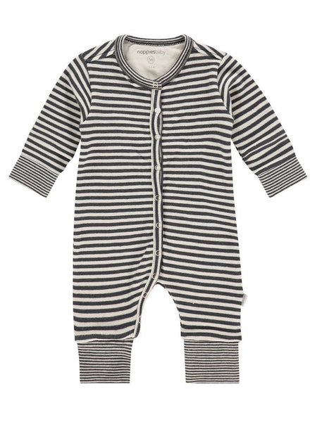 Black & white stripe knit playsuit - (Size 4lb-7lb)