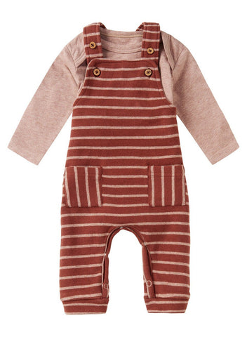 Rust Breton Stripe Dungarees & Vest Set - Organic Cotton (4-7lb)