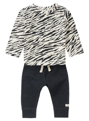 Zebra Top and Charcoal Trouser Set - Organic Cotton (4-7lb)