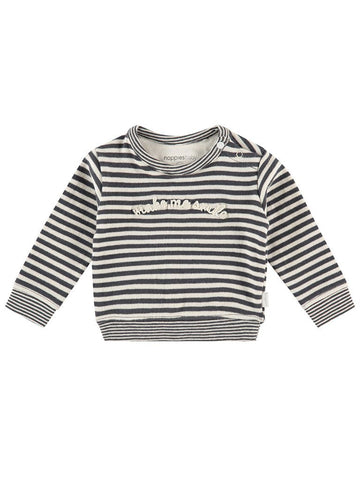 "Long Sleeve Knit Sweater with ""Make Me Smile"" Motif - Black and Cream Stripe (4-7lb)"