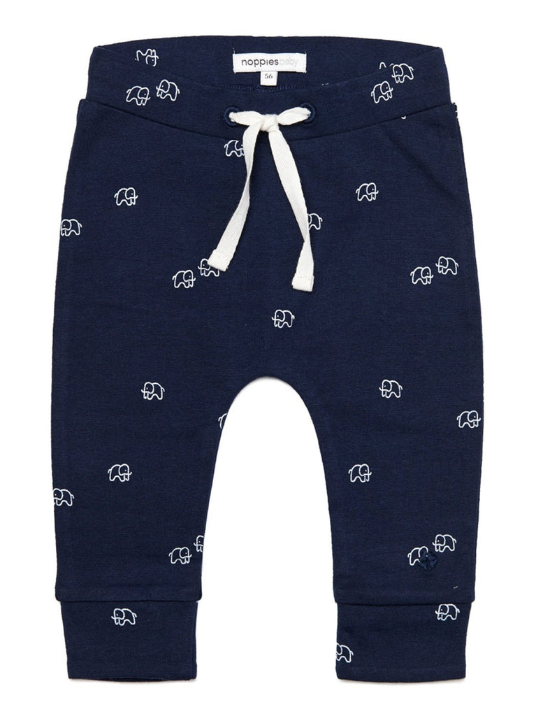 Soft Jersey Trousers - Navy with Elephant Print (Tiny Baby 4-7lb)