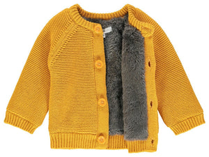 Chunky Knitted Fluffy Lined Jacket - Mustard (Tiny Baby, 4-7lb)